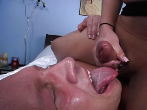 Big tit TS prostitute cums on guys face