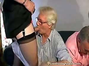Old men sucks big crossdresser`s cock - hot fetish foursome