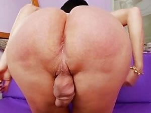 Mature shemale Paula D Avila plays with her ass and dick